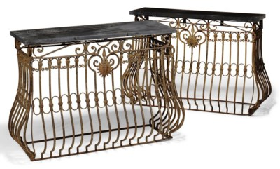A PAIR OF WROUGHT-IRON CONSOLE