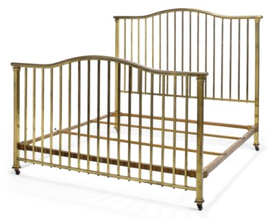 AN EDWARDIAN BRASS BED