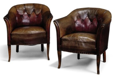 A PAIR OF WALNUT TUB-ARMCHAIRS