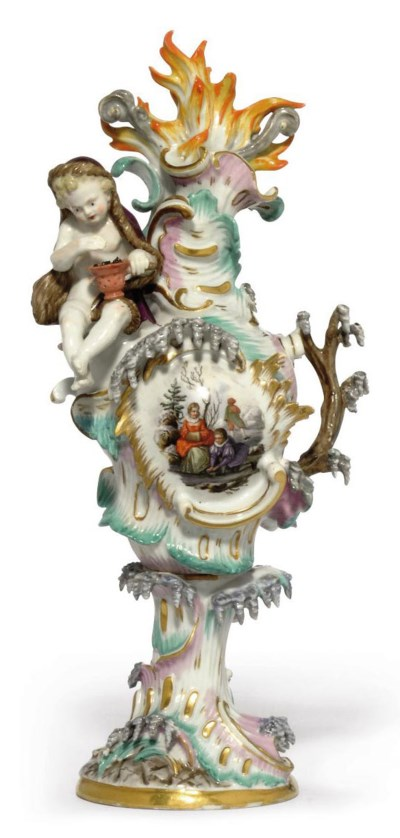 A MEISSEN ORNAMENTAL VASE EMBL