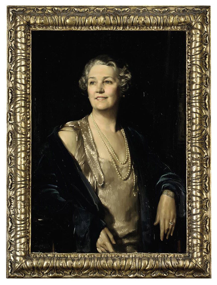 Portrait of Mrs. Kate Irene Pears, half-length, in a white dress and blue coat