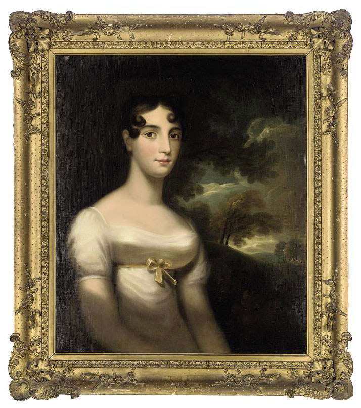 Portrait of a lady, half-length, in a white dress with a landscape beyond
