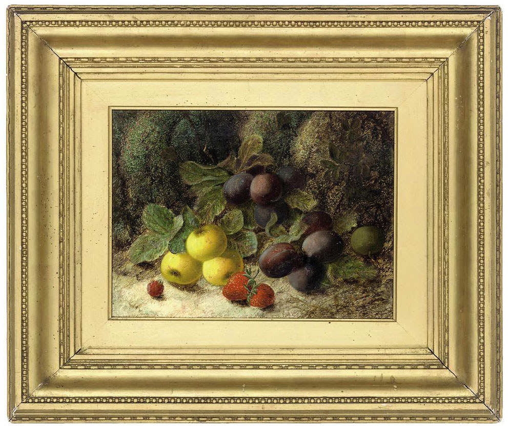 Plums, apples, strawberries and a raspberry, on a mossy bank