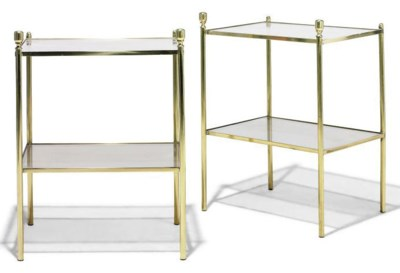 A PAIR OF BRASS ETAGERES
