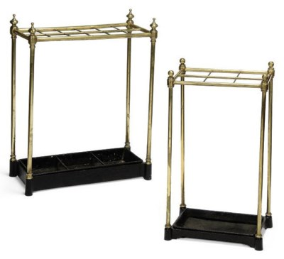 TWO BRASS AND IRON STICK-STAND