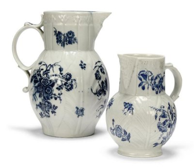 TWO ENGLISH PORCELAIN BLUE AND