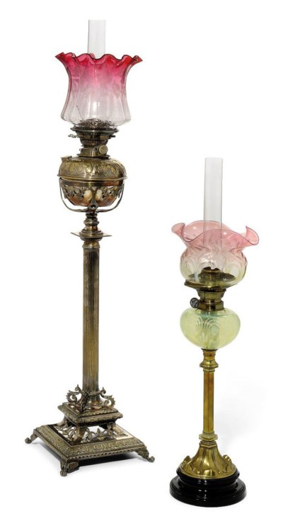 A Victorian Silver Plated Oil Lamp Late 19th Century