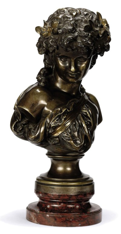 A FRENCH BRONZE BUST OF A YOUN