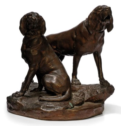 A FRENCH BRONZE GROUP OF TWO H