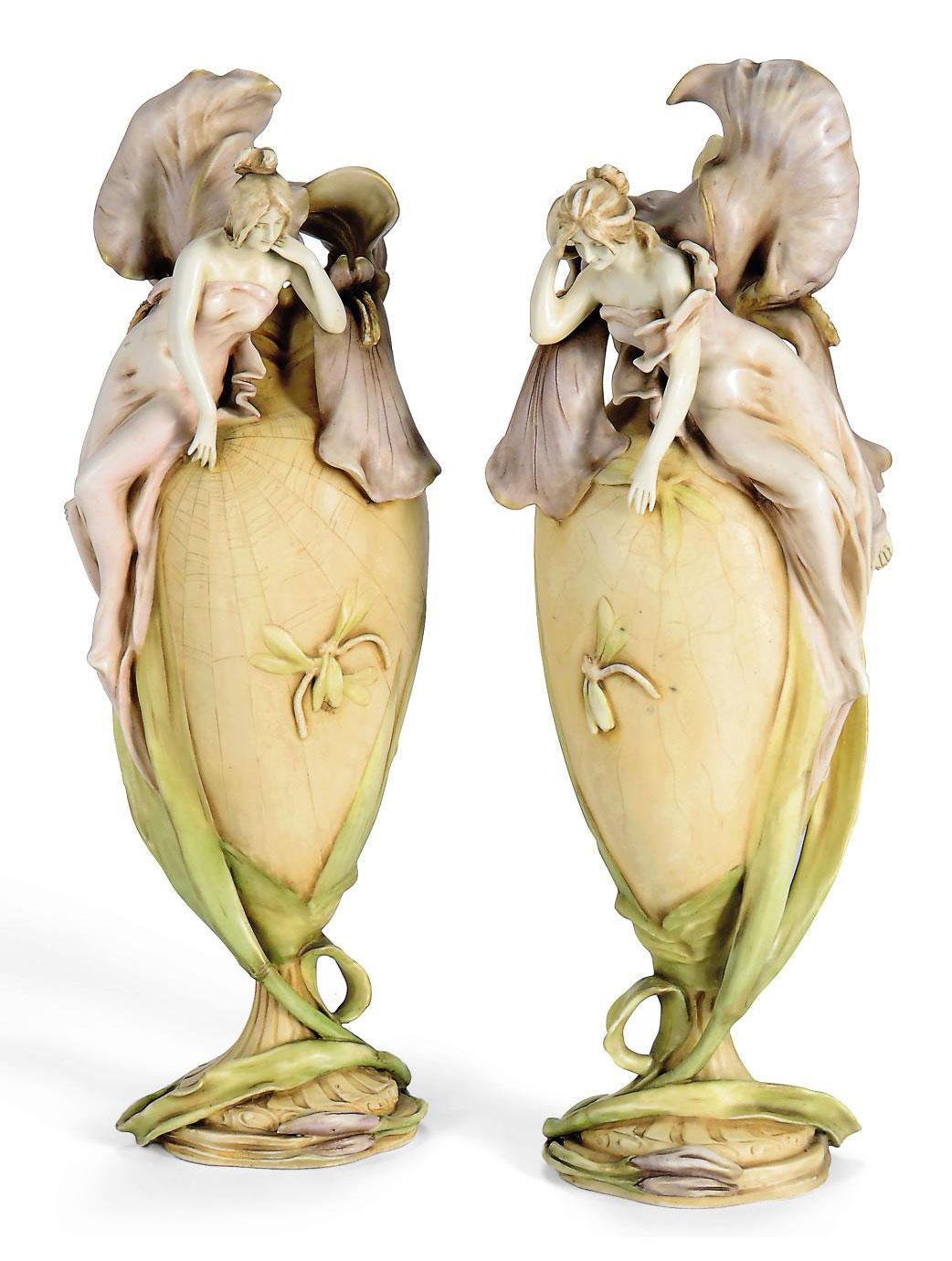 A Pair Of Amphora Art Nouveau Figural Ceramic Vases Circa 1900 Christie S