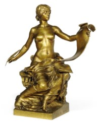 A FRENCH GILT-BRONZE FIGURE ENTITLED 'L'HISTOIRE'