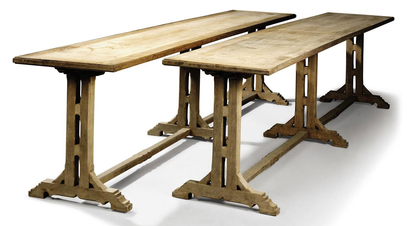 PAIR OF FRENCH REFECTORY TABLE