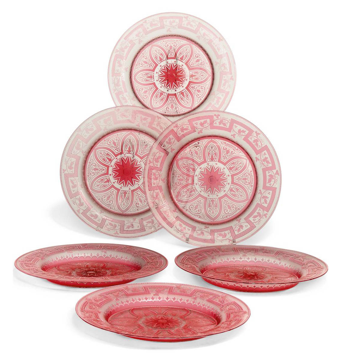 A SET OF SIX FRENCH PINK-FLASH