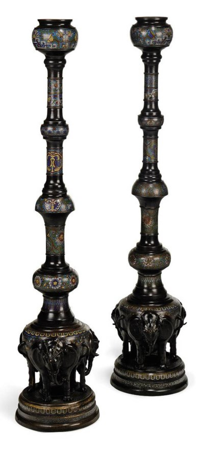 A PAIR OF CHINESE BRONZE AND C