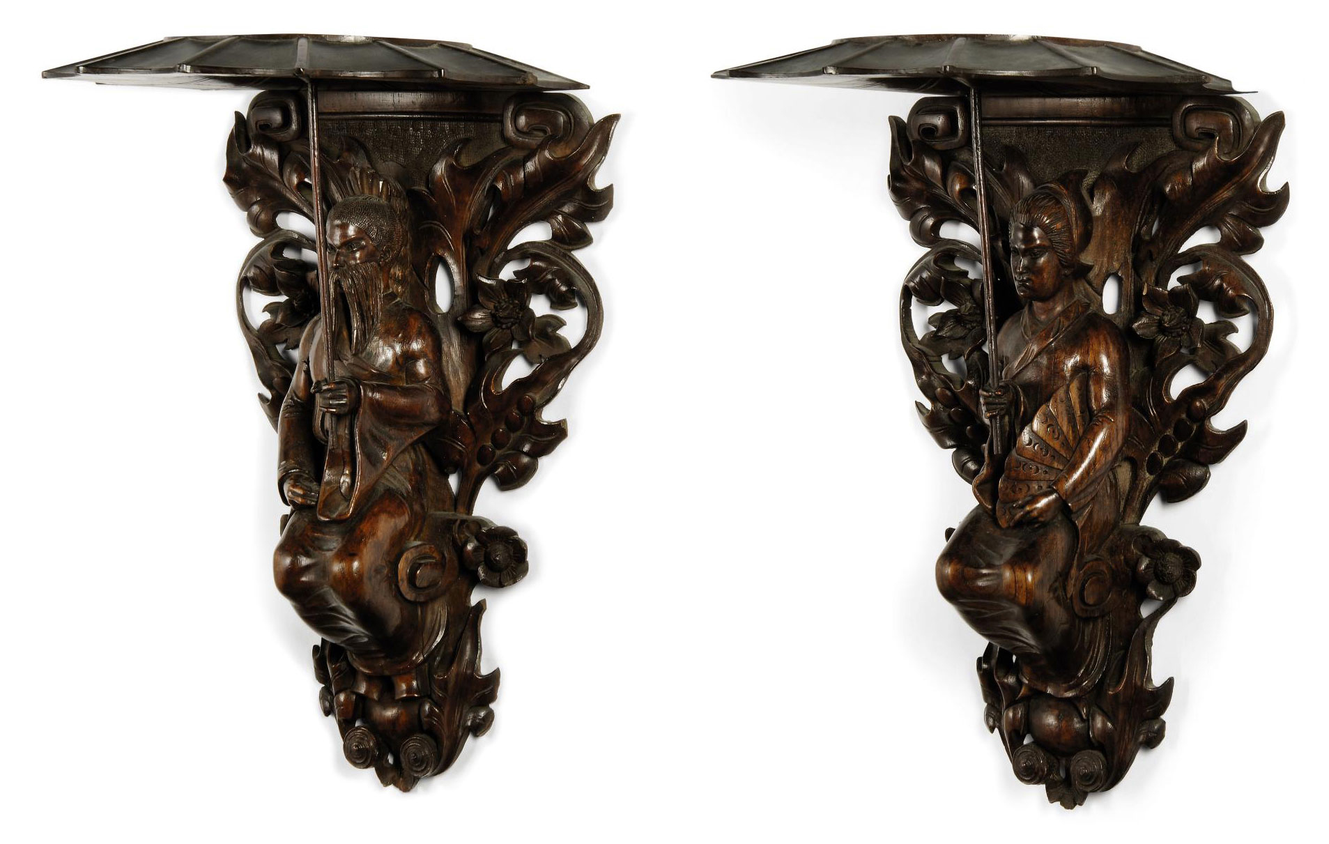 A PAIR OF STAINED AND CARVED W