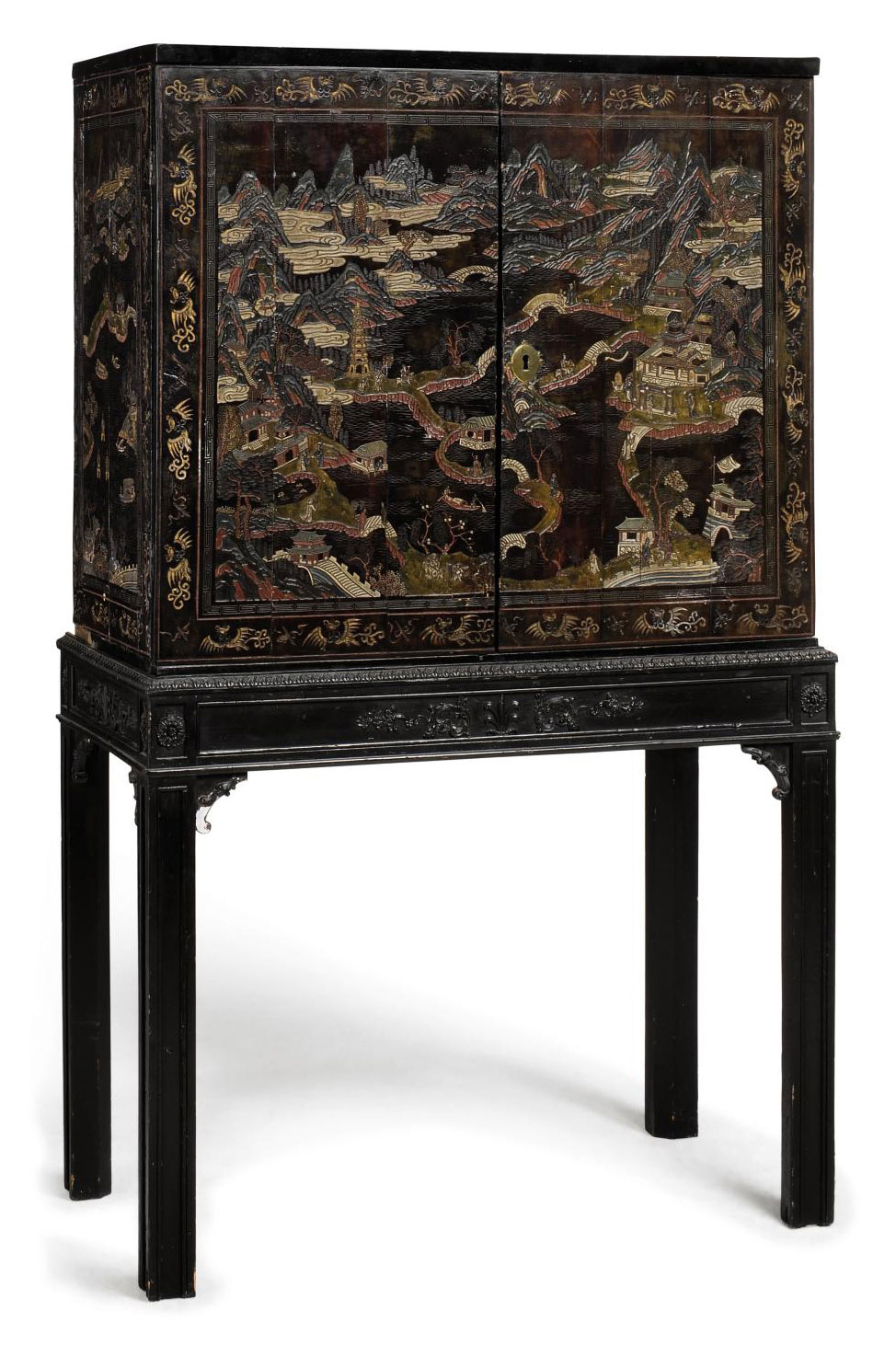 A CHINESE LACQUER CABINET ON S