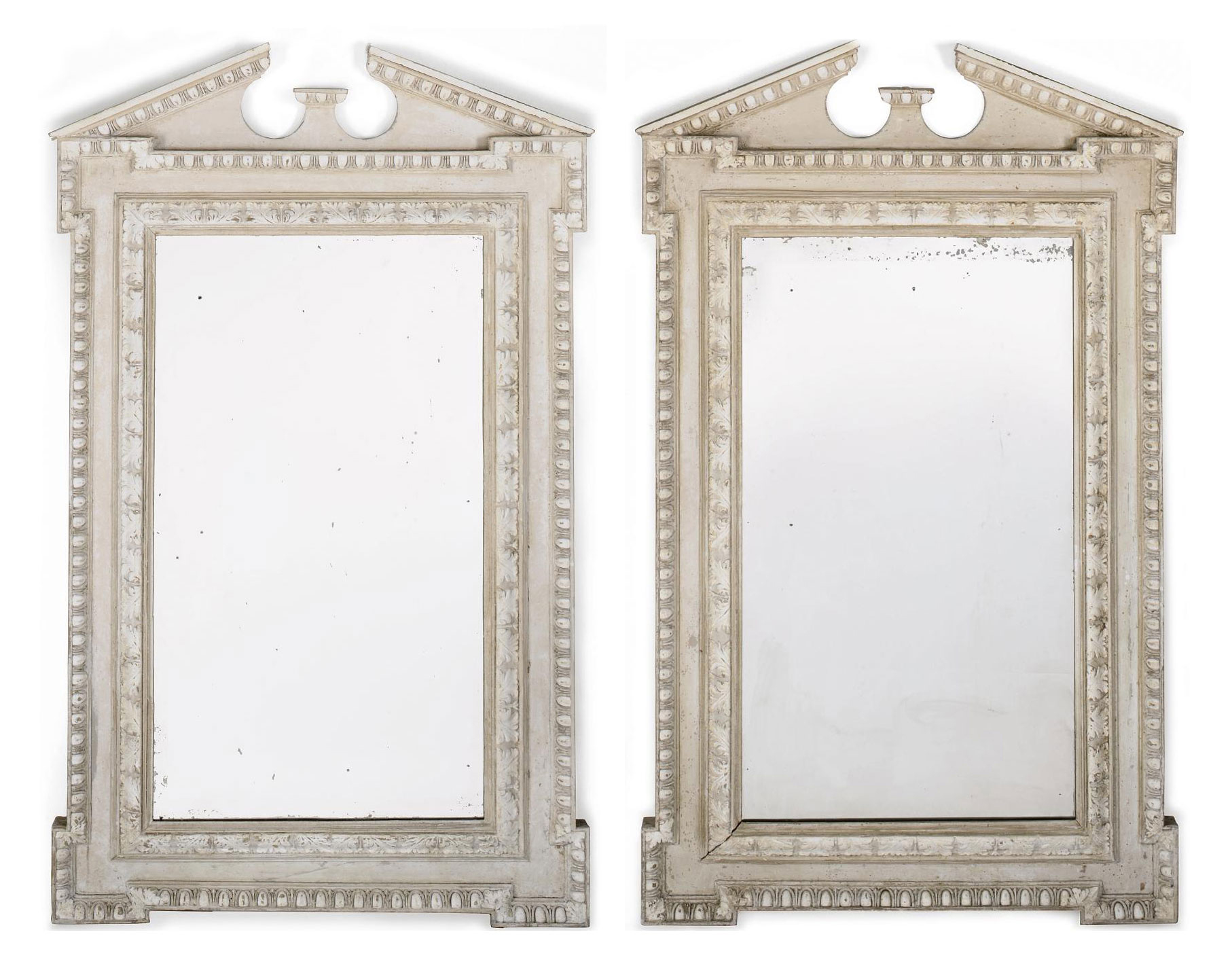 A PAIR OF WHITE PAINTED MIRROR