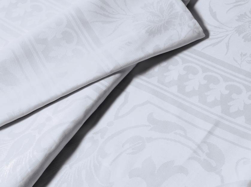 TWO DAMASK LINEN BANQUETTING C