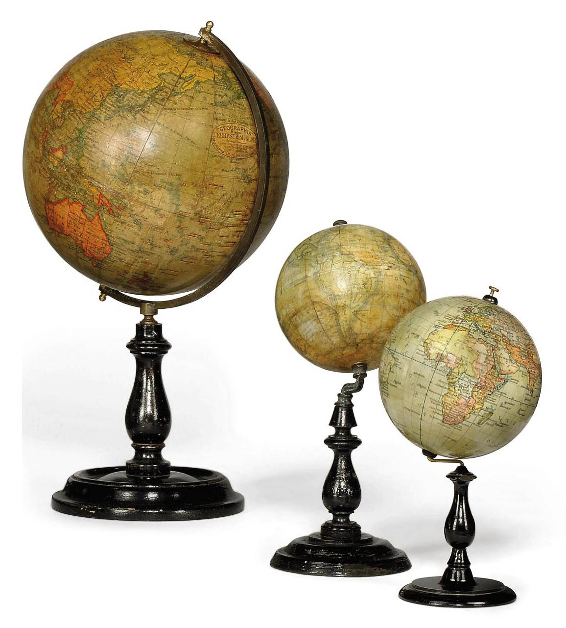 THREE TERRESTIAL TABLE GLOBES