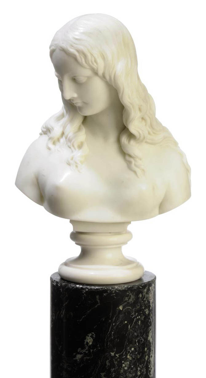 A WHITE MARBLE BUST OF A YOUNG