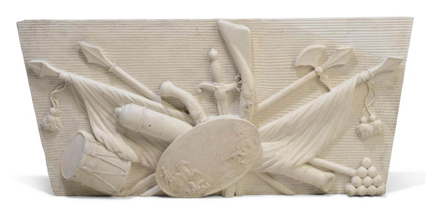 A WHITE MARBLE RELIEF PANEL