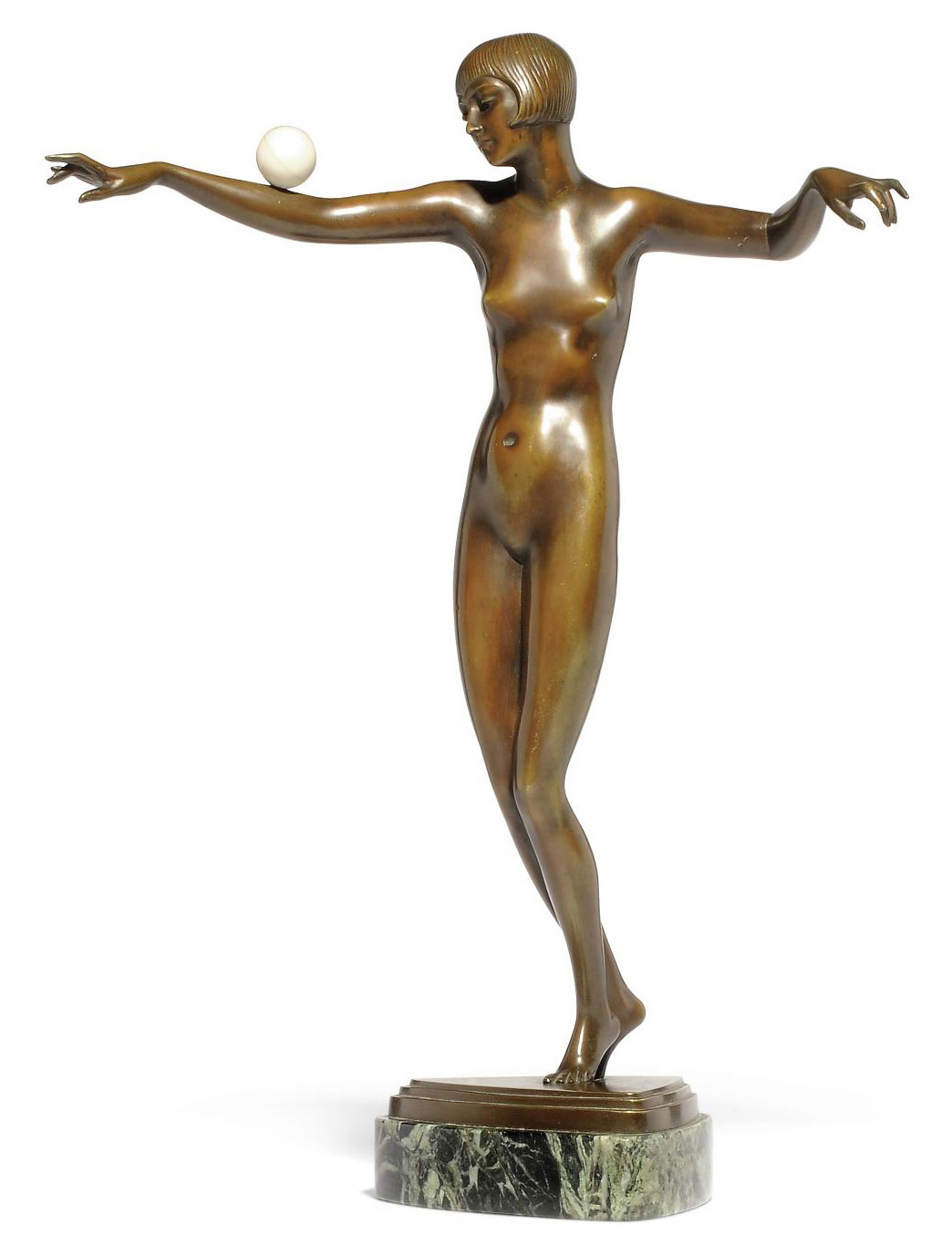 'BALANCING', A PAUL PHILIPPE PATINATED-BRONZE AND IVORY DANCER