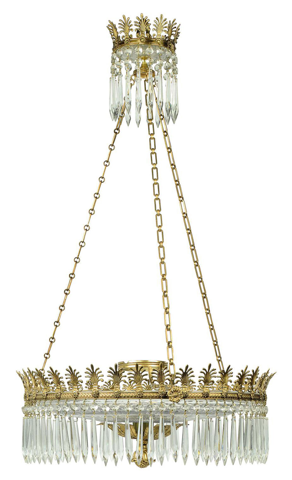 A CUT-GLASS AND GILT HANGING D