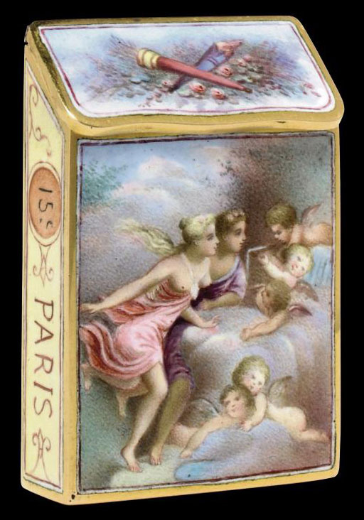 A FRENCH GOLD AND ENAMEL VESTA