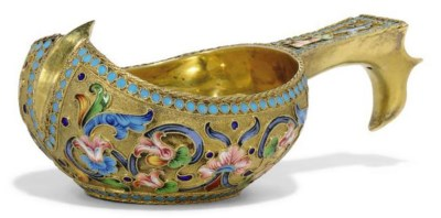 A RUSSIAN SILVER-GILT AND SHAD