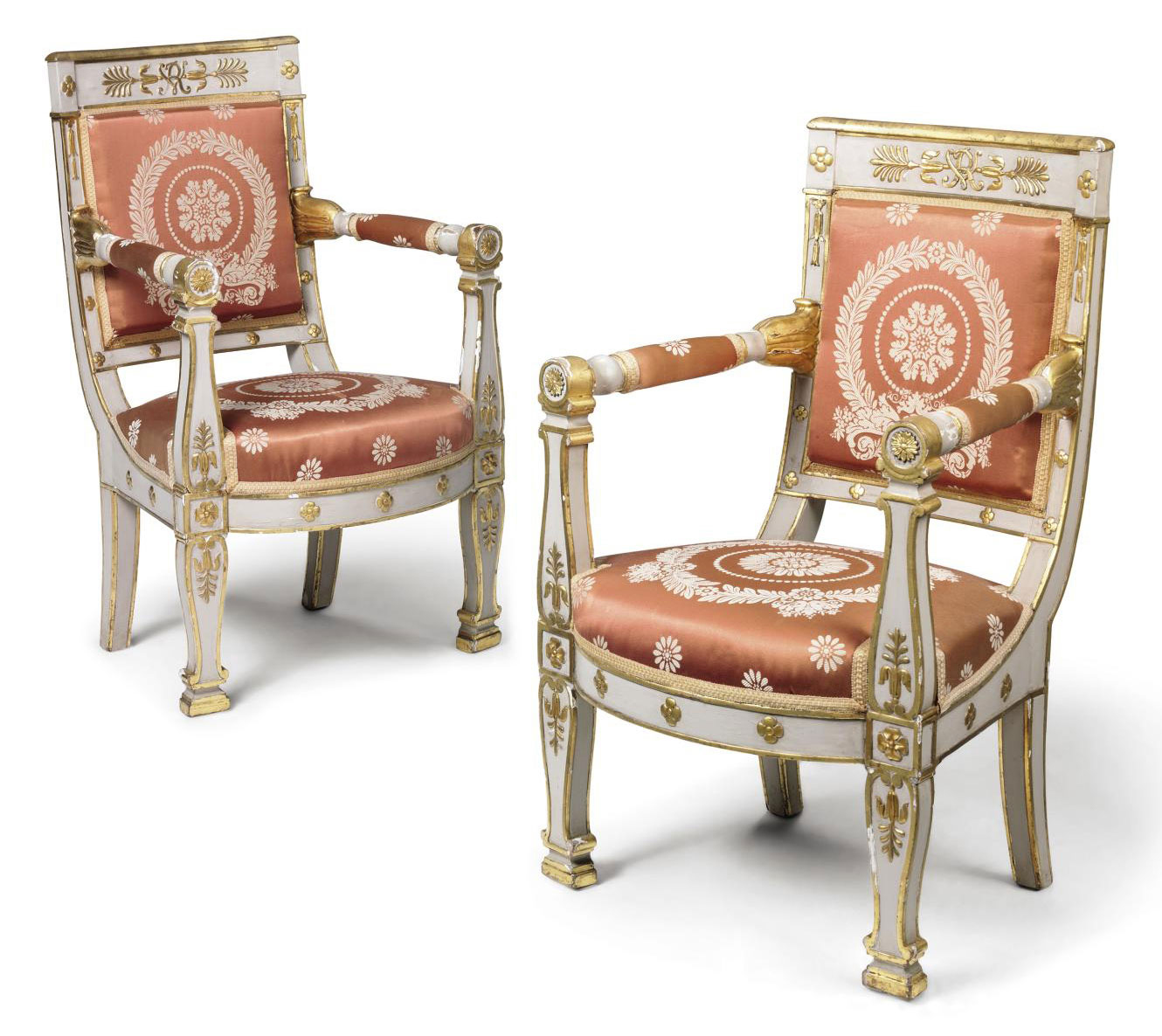 A PAIR OF EMPIRE WHITE-PAINTED