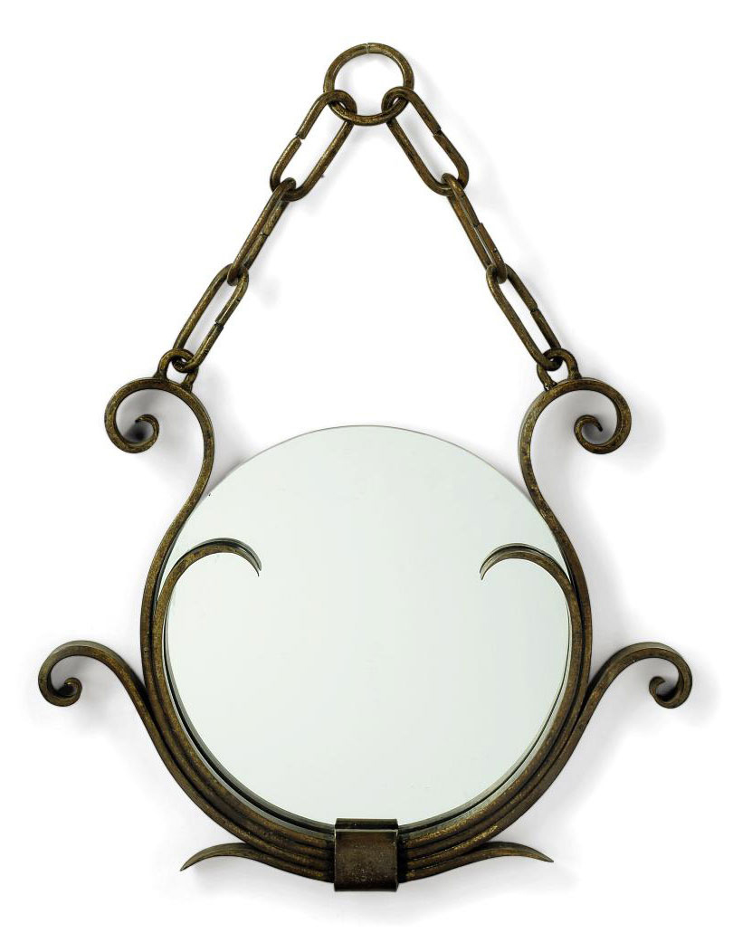 A WROUGHT-IRON HANGING MIRROR IN THE STYLE OF RAYMOND SUBES
