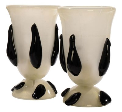 A PAIR OF VENETIAN BLACK AND G