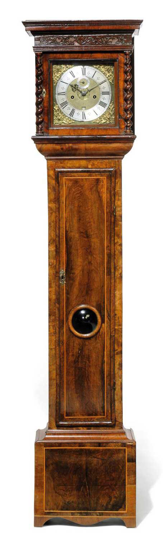 A CHARLES II WALNUT STRIKING EIGHT DAY LONGCASE CLOCK