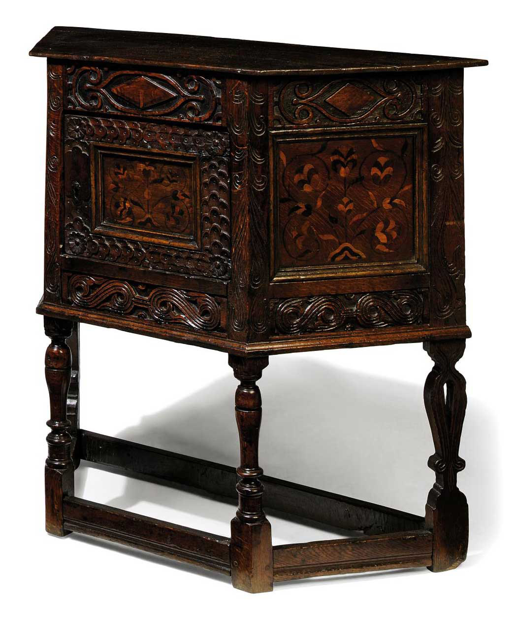 A CHARLES I OAK AND FLORAL MARQUETRY CUPBOARD