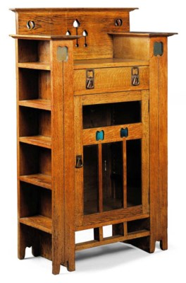 kitchen glass cabinets an arts amp crafts oak display cabinet bookcase circa 1900 1766