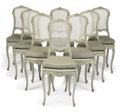 A SET OF EIGHT PAINTED BEECH C