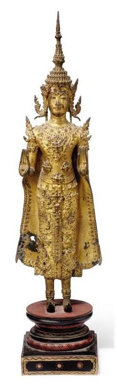 A THAI GILT-BRONZE BUDDHIST FI