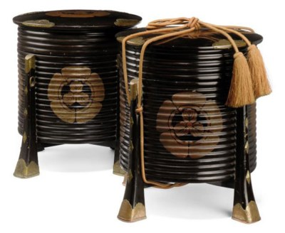 TWO JAPANESE KAI-OKE BOXES AND