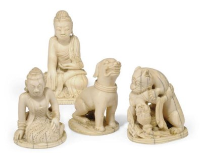 FOUR CHINESE IVORY CHESS PIECE