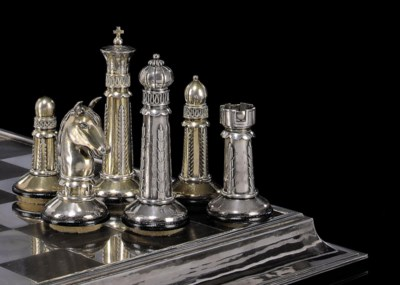 AN ART DECO GERMAN SILVER AND