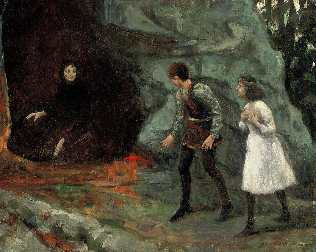Young children approaching the witch's cave