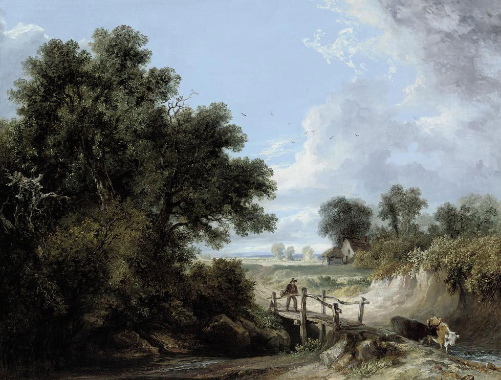 A drover and cattle crossing a wooden bridge