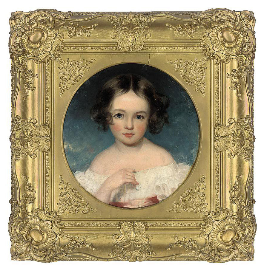 Portrait of Annie Katherine Whiteside (d. 1886), bust-length, in a white dress