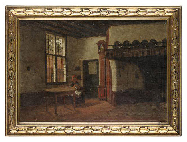 A lady sewing in an interior