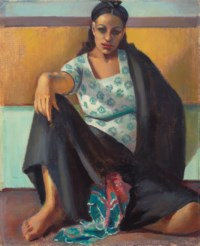 A Girl Sitting On The Floor