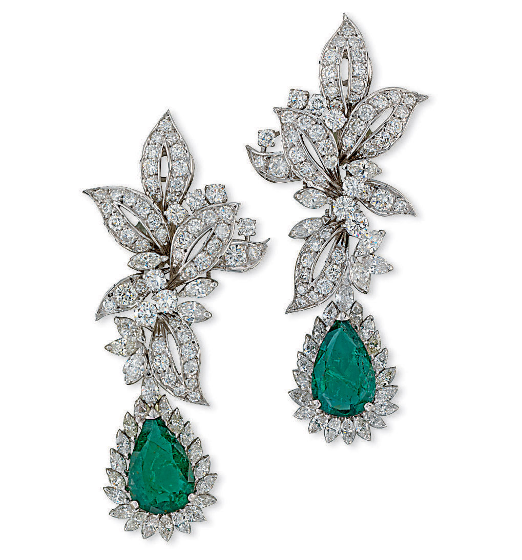 A PAIR OF EMERALD AND DIAMOND EAR PENDANTS, BY CHANTECLER