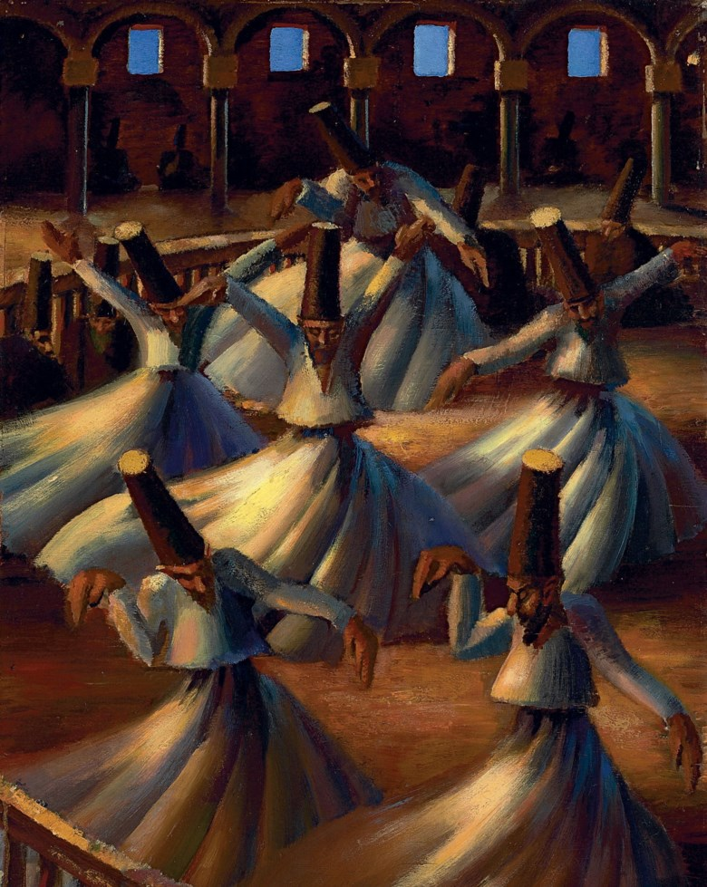Mahmoud Said (Egyptian, 1897-1964), The Whirling Dervishes, painted in 1929 . 38⅜ x 27½ in (97.5 x 69.8 cm). Sold for $2,546,500 on 26 October 2010 at Christie's in Dubai