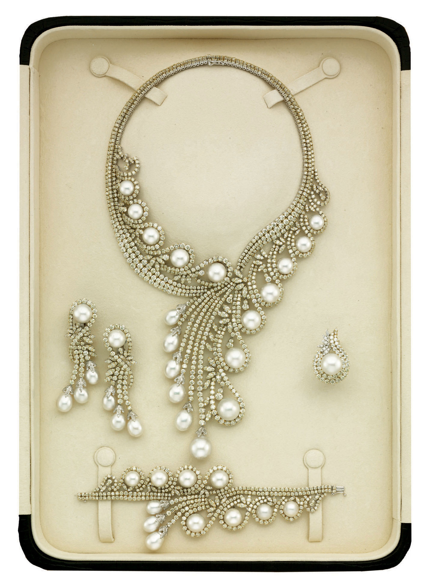 A Cultured Pearl And Diamond Parure By Elie Chatila