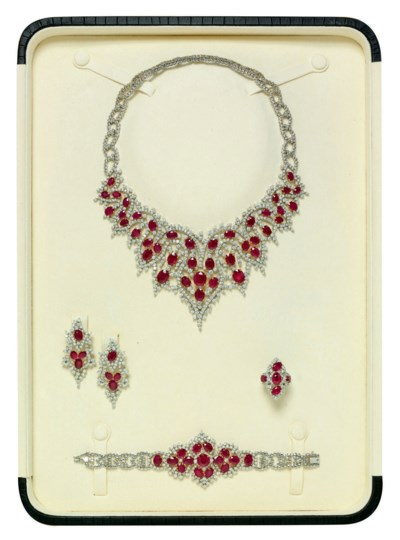 A RUBY AND DIAMOND PARURE, BY