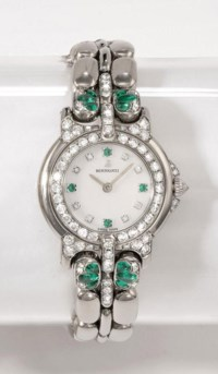 BERTOLUCCI  LADY'S WHITE GOLD, EMERALD AND DIAMOND-SET QUARTZ BRACELET WATCH WITH MOTHER-OF-PEARL DIAL